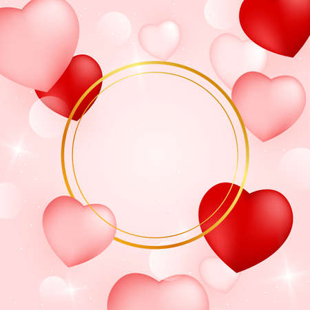 Holiday valentines card with golden ring frame hearts. Valentines day background