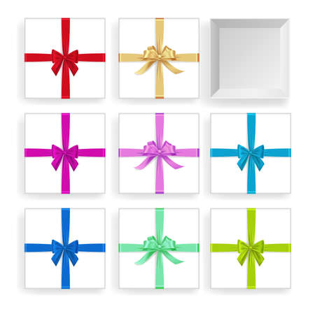 Collection of gift box with different color ribbon. Vector gift box different type and color ribbon can be used easy 矢量图像