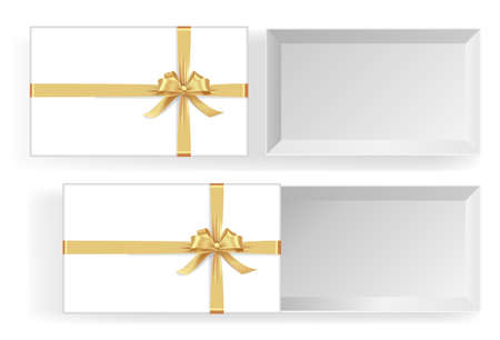 Empty open gift box with golden color bow knot, ribbon isolated on white background. Happy birthday, Christmas, New Year, Wedding or Valentine Day package concept. 3d vector illustration, top view 矢量图像
