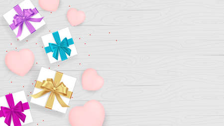 Valentines day isolated gift box. Hearts. 8 march. Pink heart red ribbon, white box with hearts for holiday. Gift box with heart. Love is in the air. Vector love. Womens day. Surprise 矢量图像