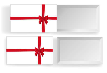 Empty open gift box with red color bow knot, ribbon isolated on white background. Happy birthday, Christmas, New Year, Wedding or Valentine Day package concept. 3d vector illustration, top view