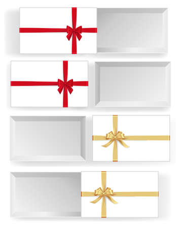 Various white boxes with red and golden ribbon bows mockup. Xmas and New Year container with silk tape decoration. Many realistic gift boxes isolated on white background vector illustration