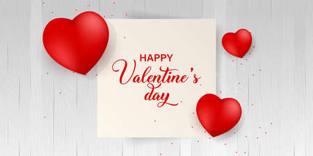 Happy Valentines Day typography poster with handwritten calligraphy black text, isolated on white background. 矢量图像