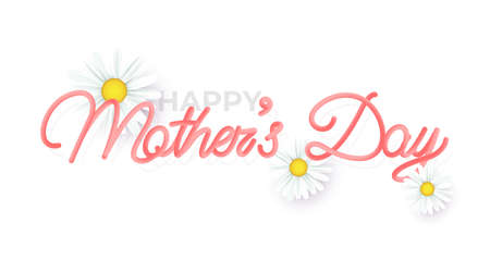 Hand drawn lettering mothers day inscription, with 3d shadow, isolated on coral white background. Vector illustration. 矢量图像