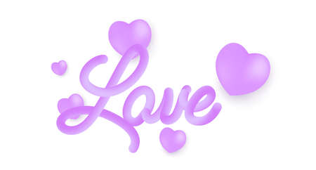 Love 3d line text. Vibrant gradient blended fluid love word. Smooth 3d line text for Valentine Day. Creative purple calligraphy concept. Abstract smooth form design. Vector illustration