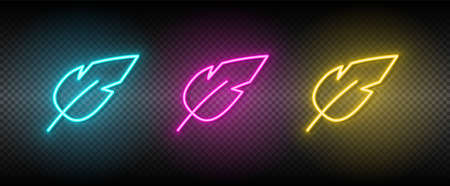 feather vector icon yellow, pink, blue neon set. Tools vector icon 矢量图像