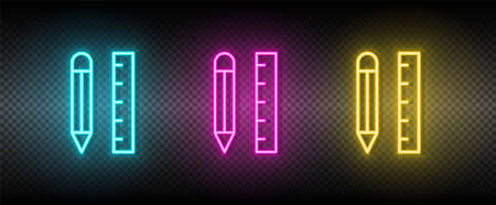 application, pencil, rule vector icon yellow, pink, blue neon set. Tools vector icon
