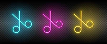 scissors vector icon yellow, pink, blue neon set. Tools vector icon 矢量图像