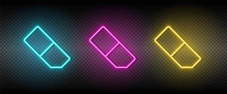 eraser vector icon yellow, pink, blue neon set. Tools vector icon 矢量图像