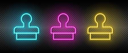 Digital, email, marketing neon icon set