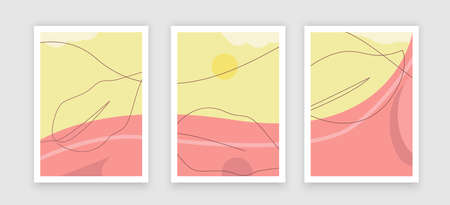 Creative fluid style poster set. dynamic shapes on light yellow background. ideal for party, banner, cover, print, promotion, sale, greeting, ad, web, page, header, landing, social media