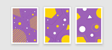 Modern artistic cards design template. Set of abstract background designs - summer sale, social media promotional content. Colorful trendy shapes 矢量图像