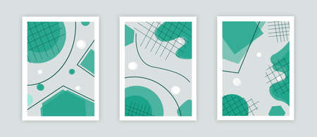 Modern abstract covers set. Cool green shapes composition.  vector.