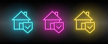 Real estate vector home, security. Illustration neon blue, yellow, red icon set. 矢量图像