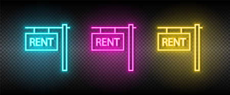 Real estate vector house, property, rent. Illustration neon blue, yellow, red icon set.