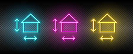 Real estate vector house, measurement, size. Illustration neon blue, yellow, red icon set. 矢量图像