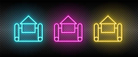 Real estate vector house, plan. Illustration neon blue, yellow, red icon set. 矢量图像