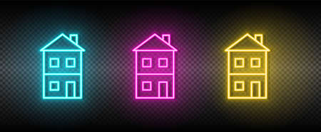 Real estate vector building, house, terrace. Illustration neon blue, yellow, red icon set. 矢量图像