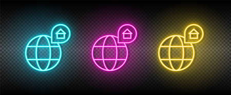 Real estate vector location, map, home. Illustration neon blue, yellow, red icon set. 矢量图像
