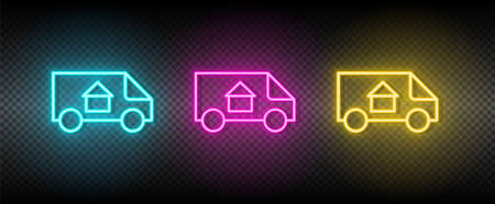 Real estate vector moving, relocation, van. Illustration neon blue, yellow, red icon set.