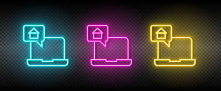 Real estate vector chat, dialogue, house. Illustration neon blue, yellow, red icon set. Vecteurs