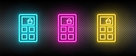 Real estate vector calculate, house, price. Illustration neon blue, yellow, red icon set. 矢量图像