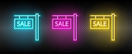 Real estate vector house, property, sale. Illustration neon blue, yellow, red icon set.