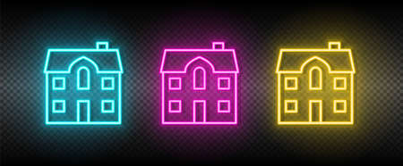 Real estate vector home, house. Illustration neon blue, yellow, red icon set. 矢量图像