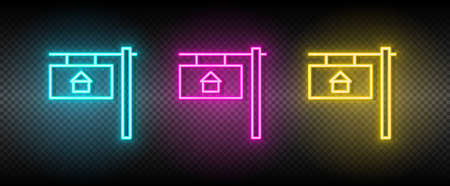 Real estate vector house, property, home. Illustration neon blue, yellow, red icon set.