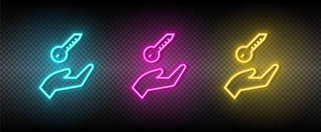 Real estate vector arm, key, home. Illustration neon blue, yellow, red icon set. 矢量图像