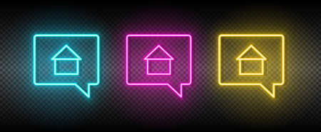 Real estate vector chat, home, house. Illustration neon blue, yellow, red icon set.