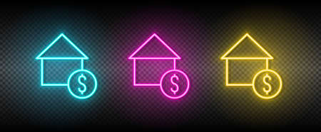 Real estate vector buy, house. Illustration neon blue, yellow, red icon set.