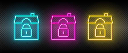 Real estate vector house, luck, security. Illustration neon blue, yellow, red icon set.