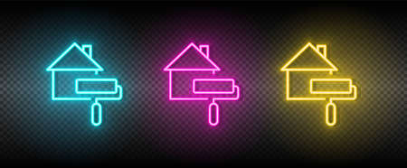 Real estate vector house, paint. Illustration neon blue, yellow, red icon set. 矢量图像