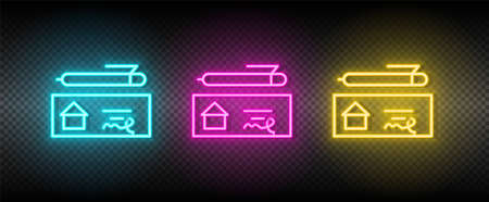 Real estate vector check, checkout, pen, house. Illustration neon blue, yellow, red icon set.