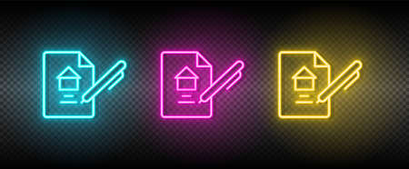 Real estate vector contract, property, rent. Illustration neon blue, yellow, red icon set. 矢量图像