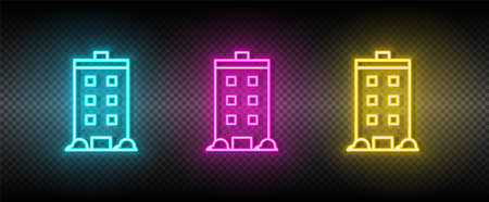 Real estate vector house, building. Illustration neon blue, yellow, red icon set.