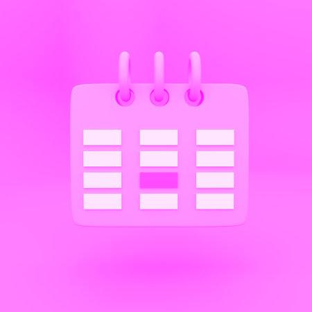 Orange Calendar icon 3d render isolated on white background.
