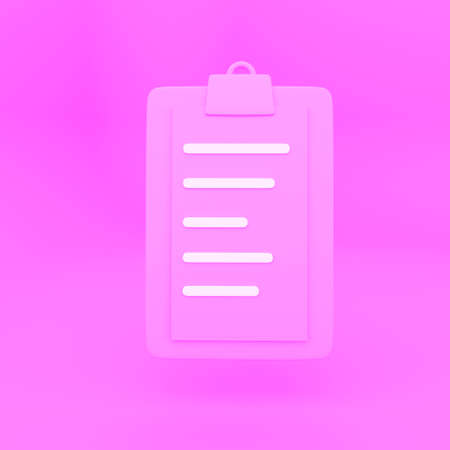 Clipboard Checklist Isolated. 3D rendering pink background