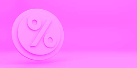 3D rener illustration TICKET VOUCHER COUPON DISCOUNT LOGO ICON isolated on pink bacground