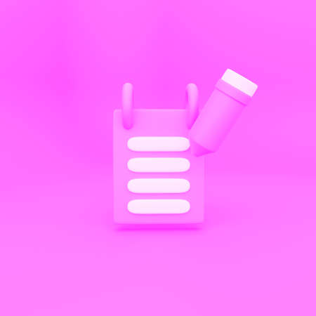 Notepad and pencil 3d render pink background