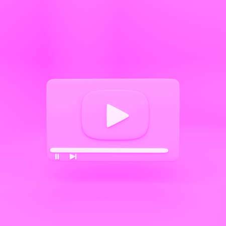 creative minimal style 4k Video media player Interface isolated on pink background. design for Social media, banner, poster and website. 3d rendering