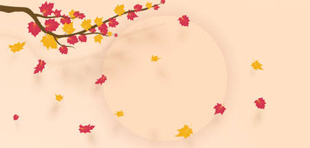 Autumn Frame With Falling Maple Leaves on soft pink Background. Elegant Design with Text Space and Ideal Balanced Colors. Vector Illustration. 矢量图像