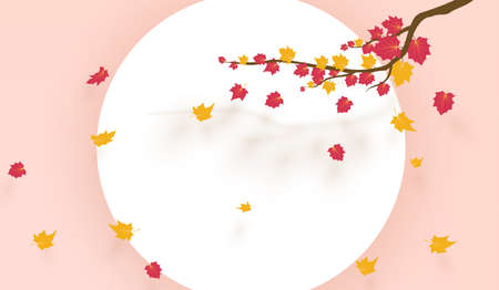 Fall background with leaves. Autumnal free white frame. 矢量图像