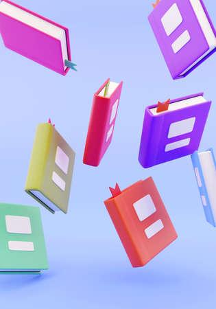 3d render. Many stacked books falling illustration 免版税图像