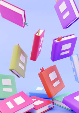 3d render. Many stacked books falling blue background 免版税图像