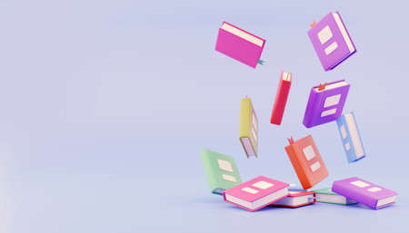 3d render. Many stacked books falling on blue background free area for text