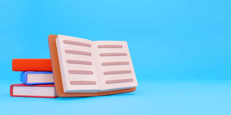 Cartoon single blank book cover illustration for text. 3D Render