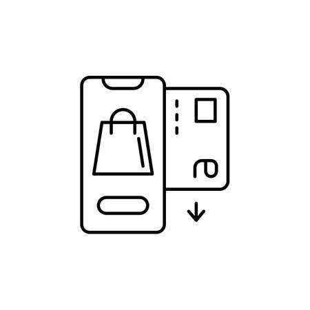 E-commerce smartphone, car, package outline vector icon. 矢量图像