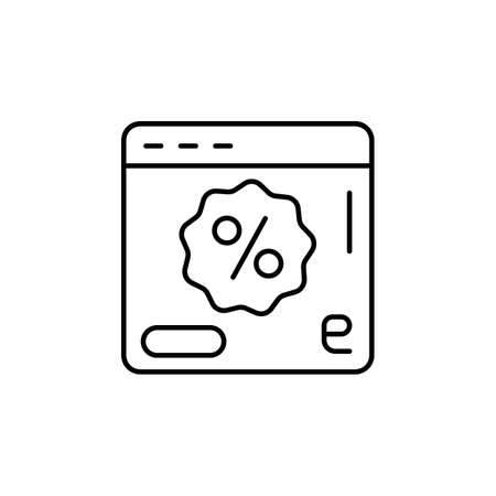 E-commerce web site, page, discount, button outline vector icon.